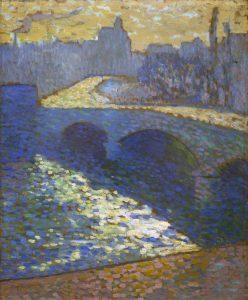 Tableau La Seine à Rouen au crépuscule