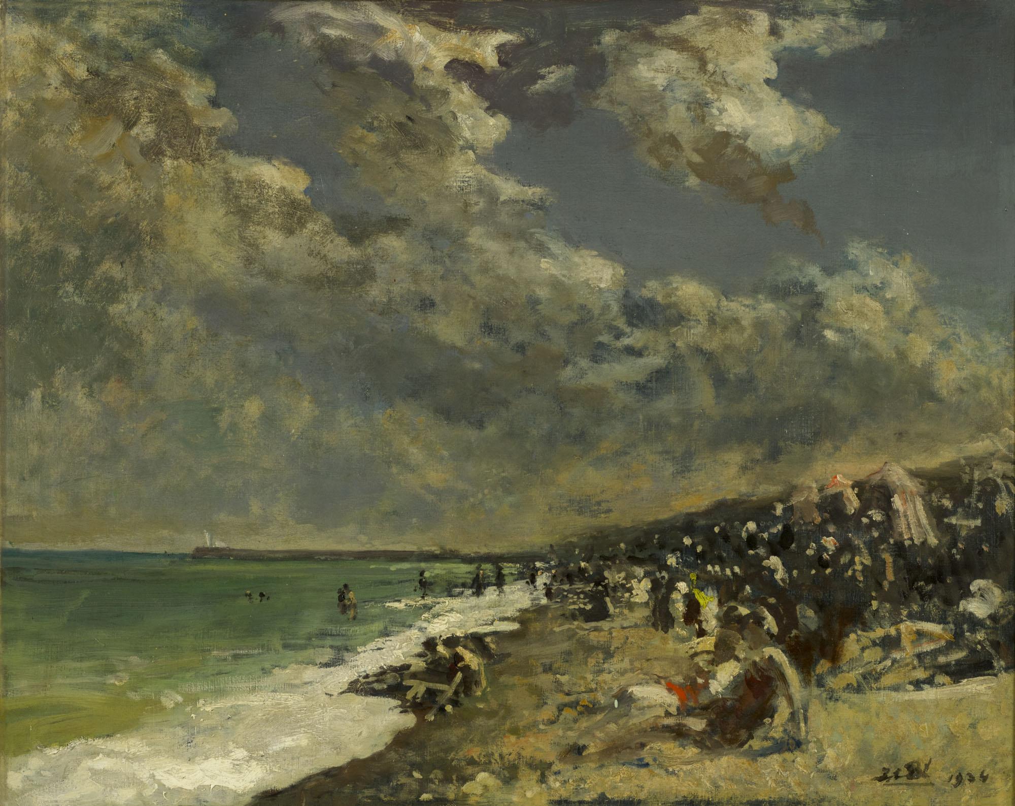 Tableau Ciel orageux sur la plage de Dieppe