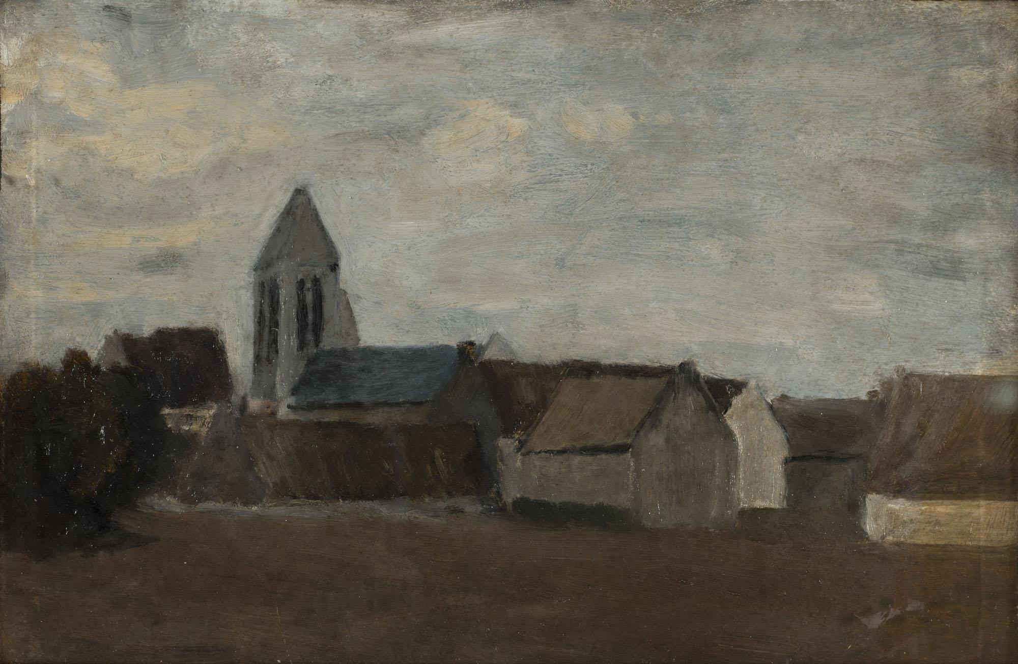 Tableau Eglise dans la plaine de Caen