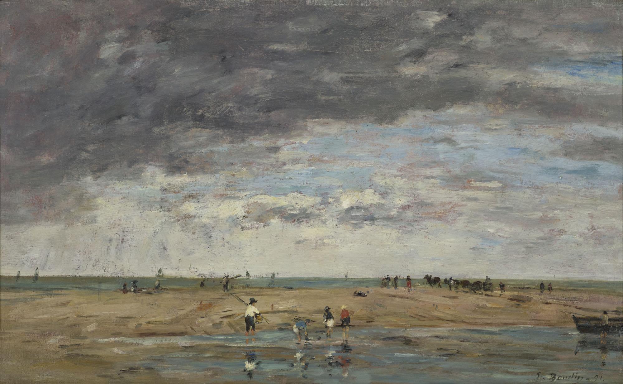 Photo du tableau d'Eugène Boudin - Pêcheurs en bord de mer