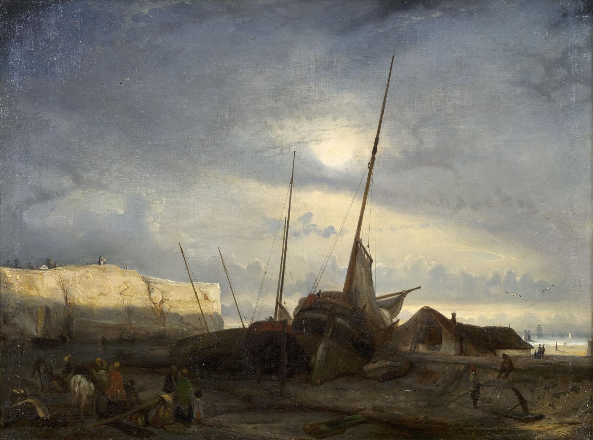 Tableau Soleil du soir sur les côtes de la Manche