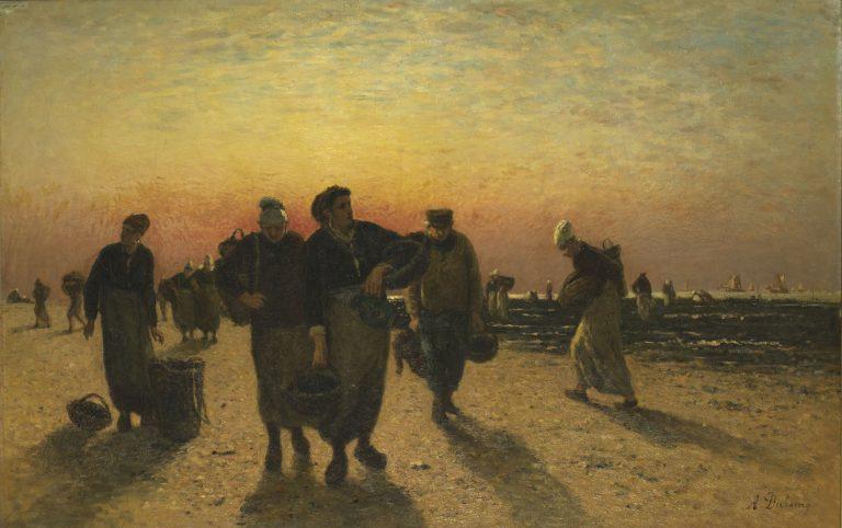 Photo du tableau Les ramasseuses de moule sur la plage de Honfleur de Louis-Alexandre DUBOURG