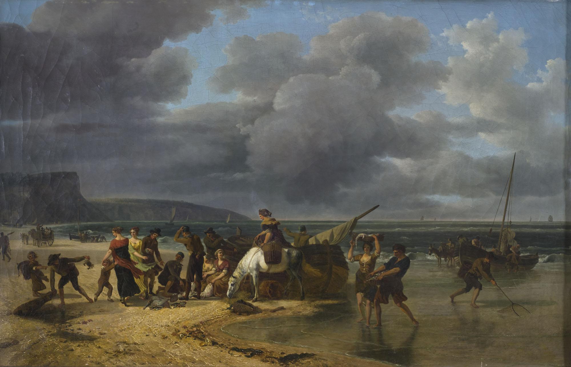 Tableau Pêche à la crevette sur la côte normande