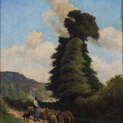 Bergère et son troupeau à Clécy