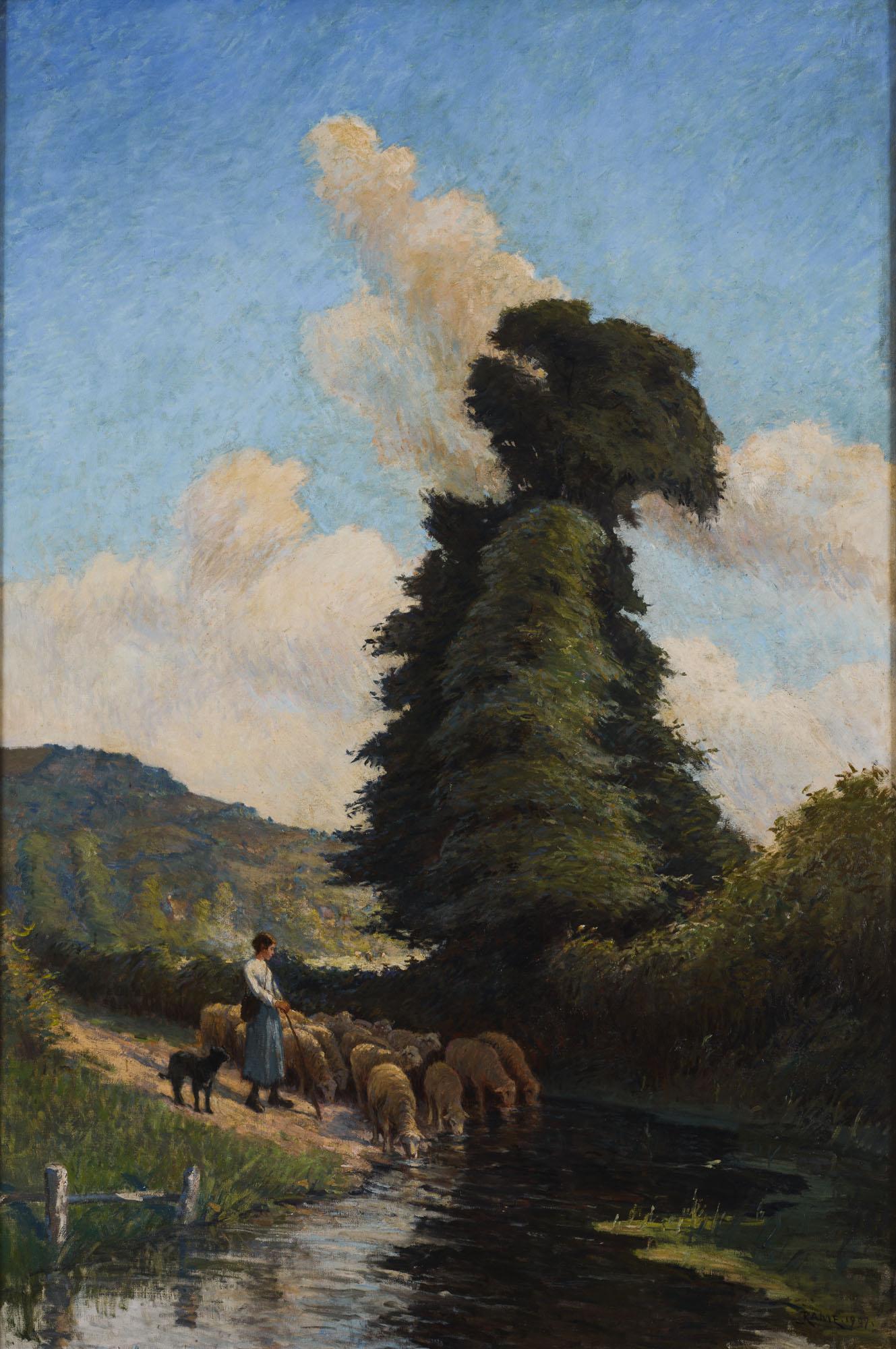 Tableau Bergère et son troupeau à Clécy