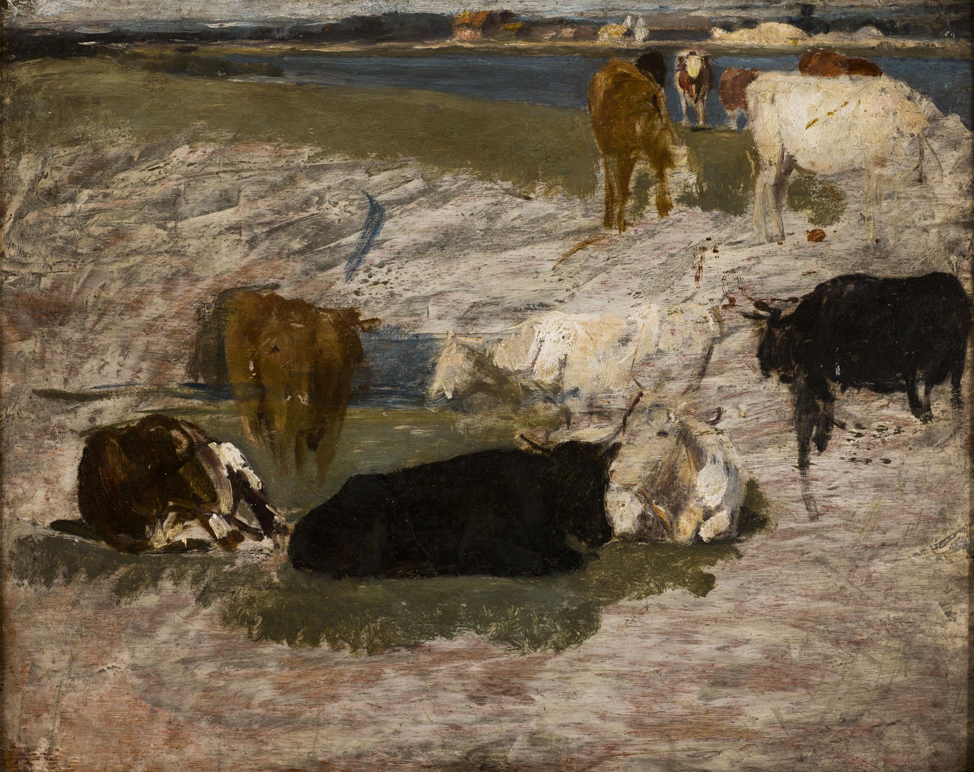 Tableau Etude de vaches pour le marais
