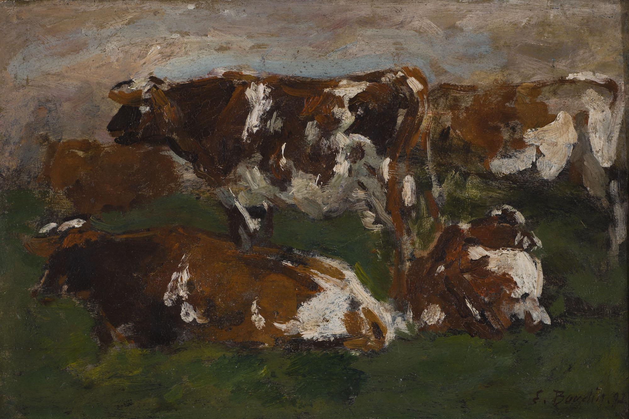 Tableau Vaches le long de la Touques