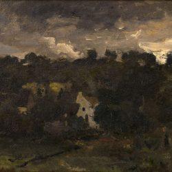 Hameau sous un ciel orageux