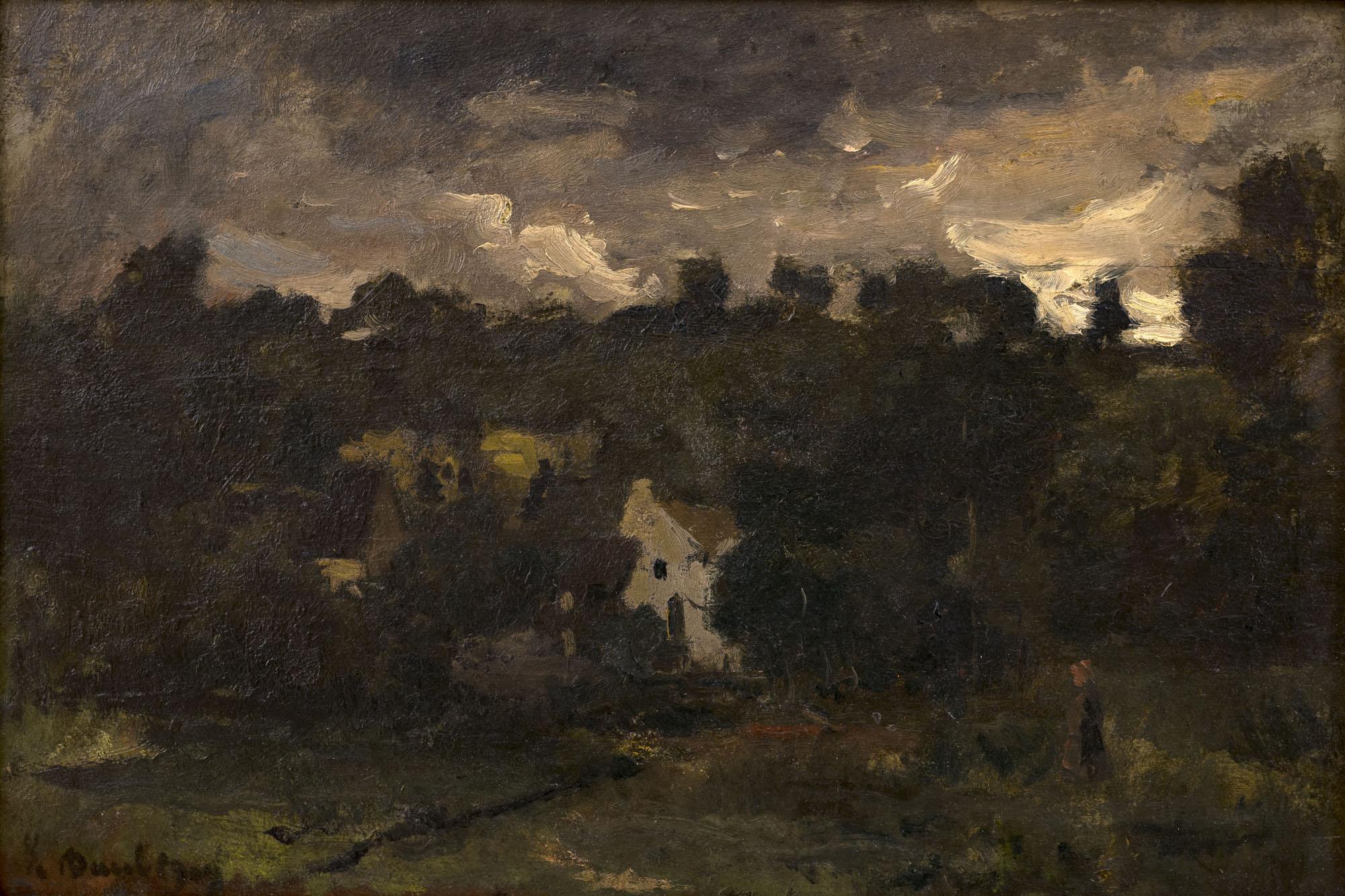 Tableau Hameau sous un ciel orageux